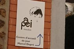 Signalétique du CAJM Marcel Dupré rue des Montalets en bas de l'escalier